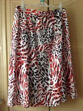 OSCAR B. ~ Skirt ~White/red/black animal print~ 16 ~ Linen Mix ~lined~ pre-loved