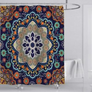 Mandala Flower Pattern Boho Fabric Shower Curtain Sets Bathroom Decor with Hooks