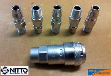 "Genuine Nitto Air Fittings - (5X) 1/4"" Male Plugs + (1X) 1/4"" Female Socket"