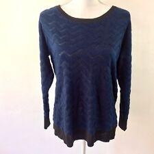 Women's blue black semi sheer scalloped pullover sweater blouse large womens