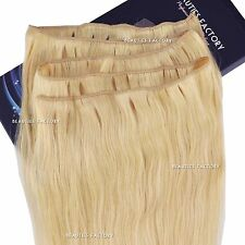 "20"" Long Non Clip In Remy Human Hair Extensions Full Head Bleach Blonde Hair403"