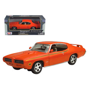 1969 Pontiac GTO Judge Orange with Stripes 1/24 Diecast Model Car by Motormax...