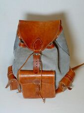 Vintage Hand Made Suede Leather School Traveling Carry On Rucksack Backpack Pack