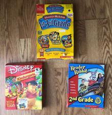 3- Preschool & Kids Educational vtg Pc & Mac Disney Reader Rabbit Adv. Workshop