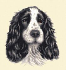 BLACK + WHITE  COCKER SPANIEL dog, puppy ~  FULL counted cross stitch kit