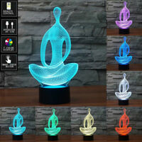 3D Yoga Meditation illusion LED Night Light 7 Color Touch Switch Table Desk Lamp