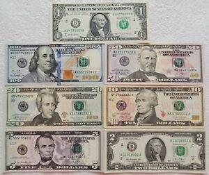✔ USA 1 2 5 10 20 50 100 Dollars 2013 - 2017 UNC Full Set Franklin Lincoln Grant