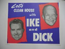 DWIGHT EISENHOWER & RICHARD NIXON  - ORIGINAL CAMPAIGN POSTER 1952 NOS