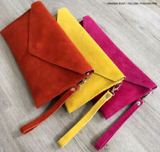 Orange Wedding Clutch Bag Evening Bag Oversize Envelope Suede Prom Made in Italy