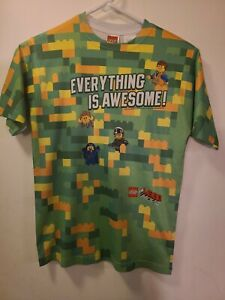 Lego The Movie Boys Shirt Size 10 12 Large Green Yellow Everything Is Awesome