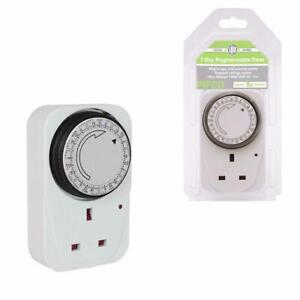 24 Hour Mains Plug In Timer Switch Time Clock Socket UK 3 Pin Lights by PIFCO UK