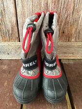 Sorel Winter Snow Lined Boots Kids Youth Size 1 Excellent Boys Black Red Gray