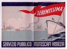 1930s VENICE ITALY Venezia Italia SERENISSIMA Map PUBBLICO MOTOSCAFI IT Art Deco