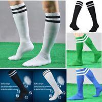 Men Women Knee High Athletic Soccer Tube Socks Solid Long Football Soccer Sports