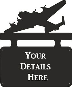 Lancaster Bomber House Name Outdoor Hanging Metal Black House Sign Personalised