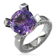 Ring, 1.75Ct Diamonds in 18k White G Large Round Amethyst and Diamond Right Hand