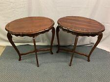 Vintage Pair of Side lamp Tables Spoon Carved  Nice !!