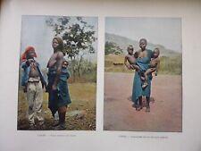 DAHOMEY:Gravure 19°in folio couleur/ FEMME ET L'ENFANT/DAHOMEENNE ET SES JUMEAUX