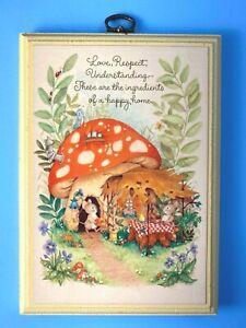 Vintage Springbok Hallmark Wooden Plaque with Mice & Mushrooms Happy Home