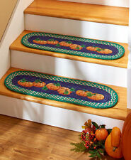 Sets of 2 Pumpkin Braided Stair Treads Harvest Autumn Fruits Oval Stairs Rugs