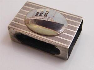 1912 HM SILVER ENAMEL MATCH BOX HOLDER – PASSENGER SHIP