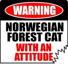 "Warning Norwegian Forest Cat With An Attitude 4"" Tattered Edge Feline Sticker"
