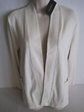 RAFAELLA Studio Woman's Vanilla Open Front Pocket Cardigan Size Medium NWT