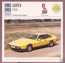 1982-1991 Lotus Excel British Sports Car Photo Spec Sheet Info Stat French Card