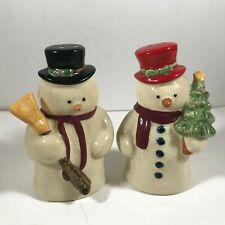 Ceramic Christmas Snowman Salt Pepper Shakers