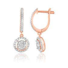 0.50 Ct Round Cut Natural Diamond 14k Rose Gold Halo Drop Dangle Earrings