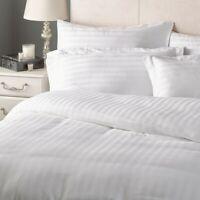 100% Sateen 400TC Cotton 1CM Stripe Double Duvet Cover Set With 2 Pillow Case