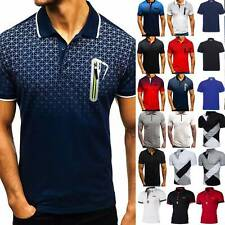Mens Casual Polo Shirts Short Sleeve Slim Fit Golf T-Shirt Tops Summer Basic Tee