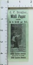 Vintage Paper Label C.P. Strother Wall Paper Prices Adorable Girl Image P35