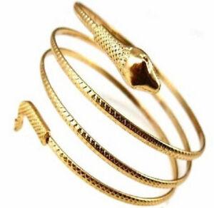 Gold Colour Snake Wrap Cuff Women's Statement Choker Metal Bracelet Bangle UK