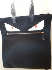 New Authentic Fendi Monster Tote Hand Bag Nylon Leather Blue White Red