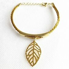 CAPIM ORO VEGETABLE GOLD BRACELET GOLD PLATED OPEN LEAF THREE STRAND ADJUSTABLE.