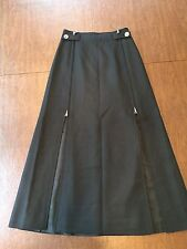 Vintage COURREGES SKIRT Size 4/6 Small Black Full-Length 100% Wool Zippered Wrap