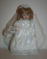 """Blond Blue Eyed Porcelain Victorian 13"""" Bride Doll With Stand"""