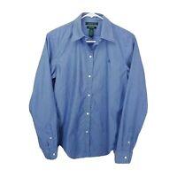 Lauren Ralph Lauren Womens Blue White Striped Long Sleeve Shirt Size Small