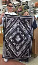 Native American Navajo  Handmade Rug Two Grey Hills Design *Risa Becker*