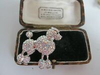 VINTAGE SPARKLY RHINESTONE  POODLE DOG  ANIMAL BROOCH PIN
