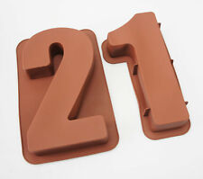 "Grandes de 12 ""de silicona número Moldes 21 Pastel Latas Tartera Cumpleaños Xxi Molde"