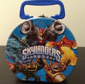 Skylanders Round Carrying Case All Metal Tin Stationery Lunch Box Blue