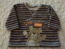 Just One Year Boys Brown Blue Striped Bear Fleece Long Sleeve Shirt 3 Months