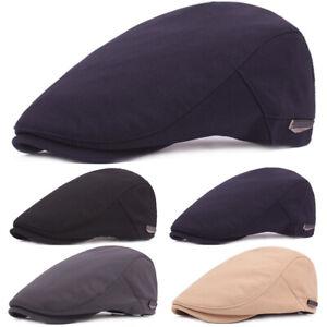Men Cotton Beret Newsboy Adjustable Hat Classic Visor Driving Cap Casual Hats