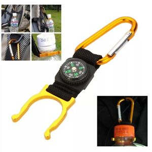 Carabiner Water Bottle Buckle Hook Holder Clip with Compass for Camping Hiking