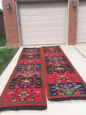 Vintage Pair Of Rare Turkish Kilim Birds Rug Runner Size 12 X 3 - 75 Years Old