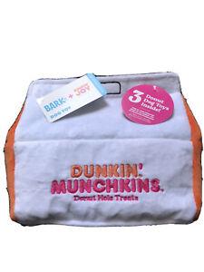 Dunkin' Donuts Bark Box Dog Toy Munchkin Box W- 3 Munchkins Plush NWT