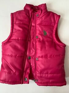 US Polo Assn. baby girl size 12 mths. dark pink puffer vest with green logo