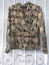 NWT ~ JONES NEW YORK ~ Sz 8 Womens DRESSY Sheer Black & Gold Floral Side Zipper